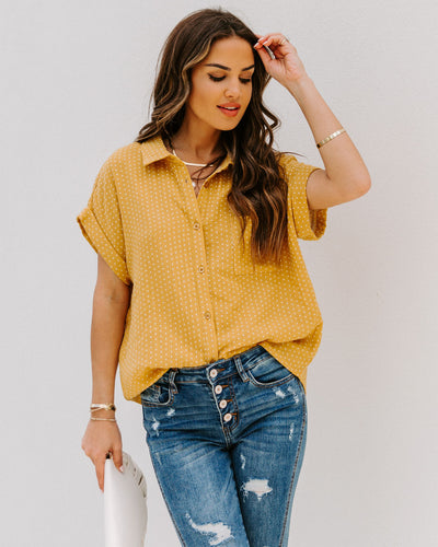 Phineas Cotton Woven Button Down Top - Mustard