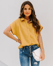 Phineas Cotton Woven Button Down Top - Mustard view 8