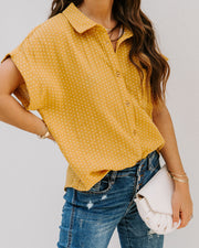 Phineas Cotton Woven Button Down Top - Mustard view 4