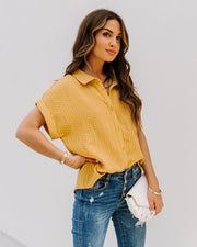 Phineas Cotton Woven Button Down Top - Mustard view 1