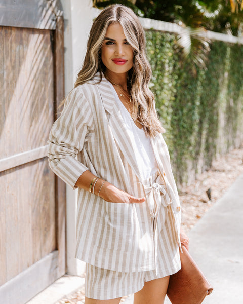 Thousand Palms Cotton Pocketed Striped Blazer