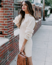 December To Remember Mock Neck Sweater Dress - Ivory