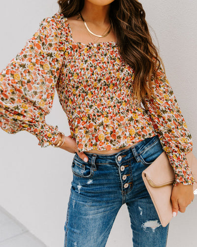 Ethel Floral Smocked Crop Blouse