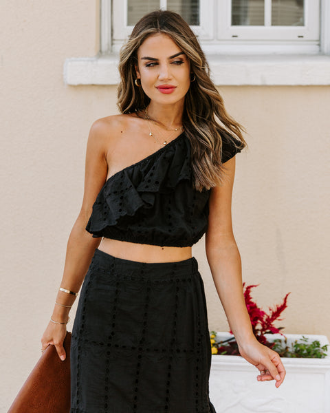Fiesta Cotton Eyelet One Shoulder Crop Top - Black
