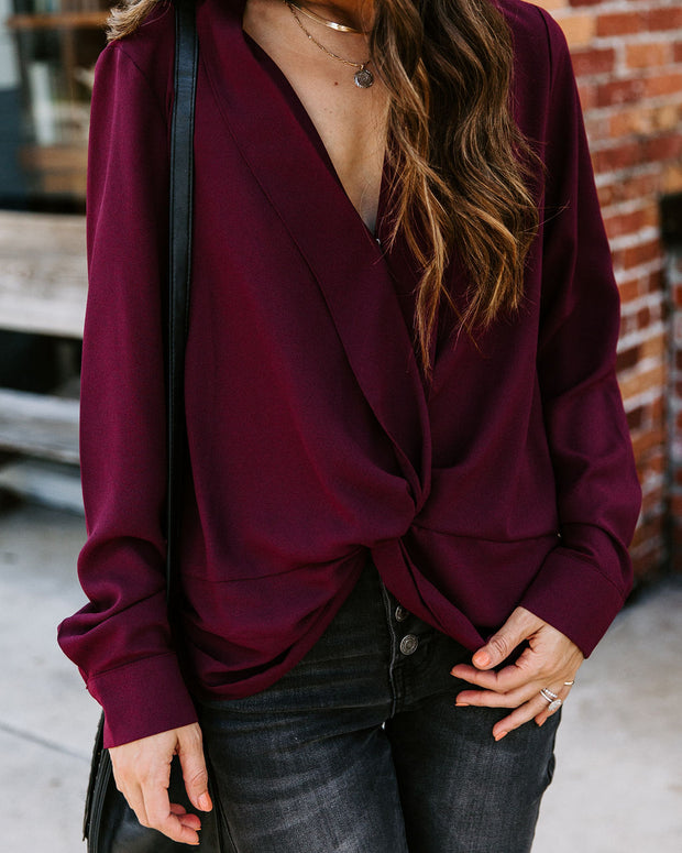 Friendly Competition Twist Front Blouse - Burgundy