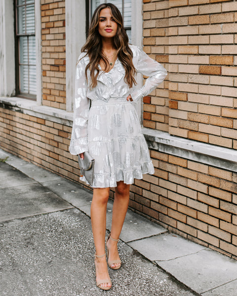 Silver Rose Smocked Ruffle Dress