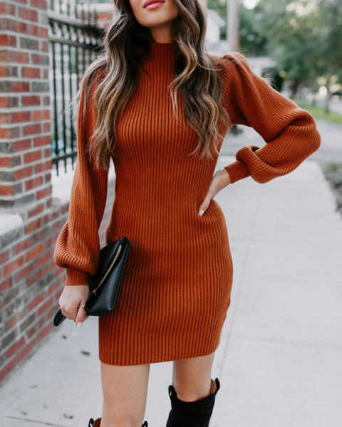 December To Remember Mock Neck Sweater Dress - Clay