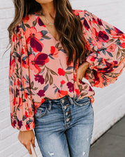 No Lie Floral Pleated Balloon Sleeve Blouse