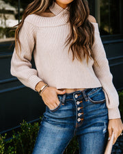 Frontier Cold Shoulder Knit Sweater - Taupe - FINAL SALE view 7