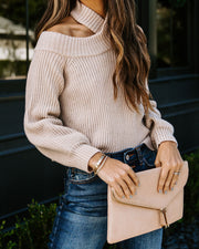 Frontier Cold Shoulder Knit Sweater - Taupe - FINAL SALE view 3