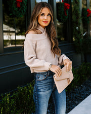 Frontier Cold Shoulder Knit Sweater - Taupe - FINAL SALE view 9