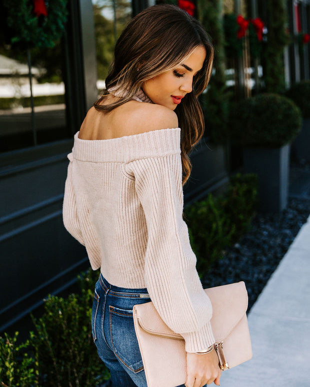 Frontier Cold Shoulder Knit Sweater - Taupe - FINAL SALE view 2