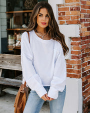 Better Late Than Never Cotton Long Sleeve Top - White