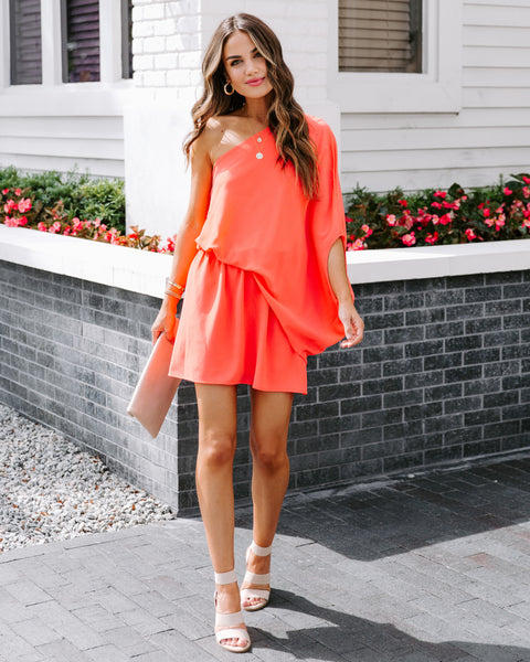 Around The Clock One Shoulder Mini Dress - Bright Coral - FINAL SALE
