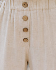 Quintana Linen Blend Pocketed Pants - Oatmeal