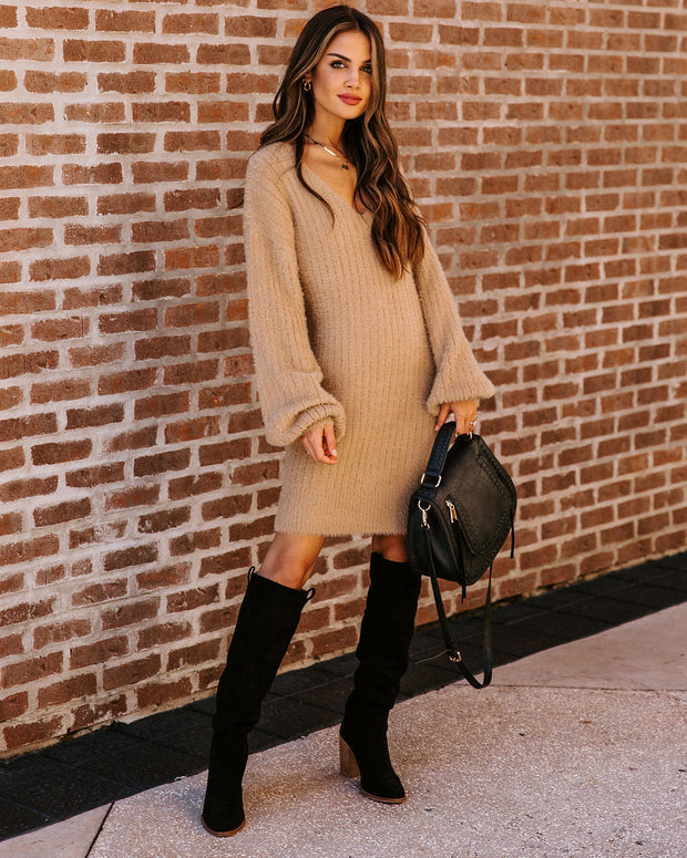 Ice Queen Fuzzy Knit Sweater Dress - Camel