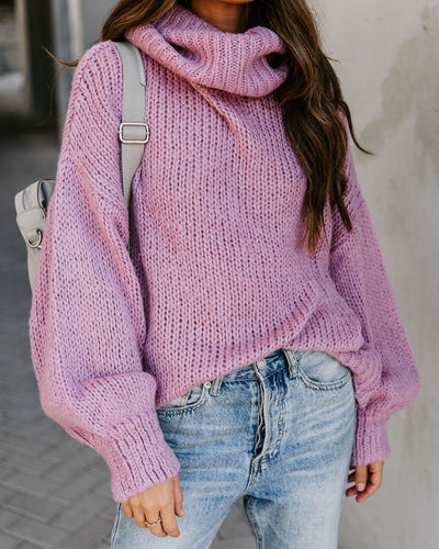 Headstrong Turtleneck Knit Sweater - Dusty Pink