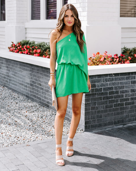 Around The Clock One Shoulder Mini Dress - Emerald