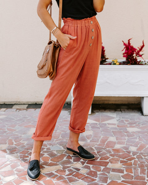 Quintana Linen Blend Pocketed Pants - Brick