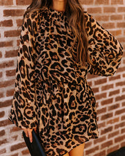 Wiley Smocked Leopard Tie Dress