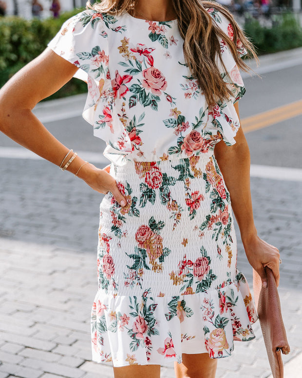 Approaching Fall Floral Smocked Ruffle Dress