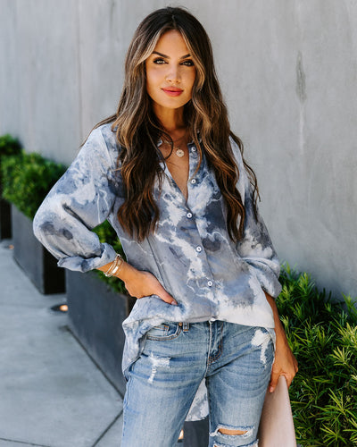 Need More Tie Dye Button Down Blouse - Blue