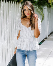 Loyalty Swiss Dot Puff Sleeve Peplum Top - FINAL SALE
