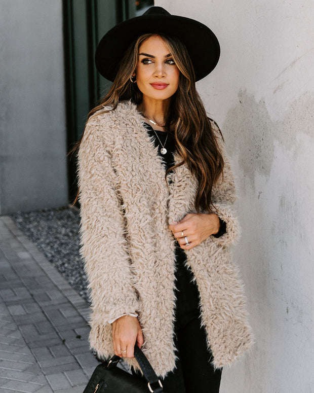 Familiar Feelings Pocketed Faux Fur Jacket - Oatmeal view 8