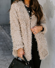 Familiar Feelings Pocketed Faux Fur Jacket - Oatmeal