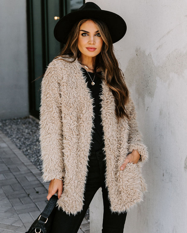 Familiar Feelings Pocketed Faux Fur Jacket - Oatmeal view 7
