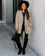 Familiar Feelings Pocketed Faux Fur Jacket - Oatmeal view 11