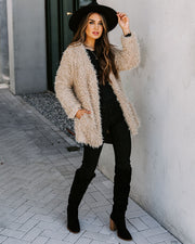 Familiar Feelings Pocketed Faux Fur Jacket - Oatmeal view 6