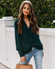 Friendly Competition Twist Front Blouse - Dark Teal