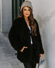 Familiar Feelings Pocketed Faux Fur Jacket - Black