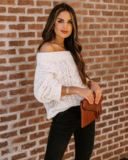 Roast Marshmallows Off The Shoulder Chenille Sweater