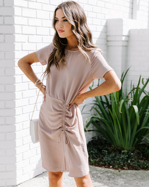 Shelby Short Sleeve Ruched Tie Dress - Taupe