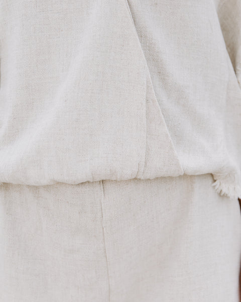 Tucson Cotton + Linen Frayed Romper - Oatmeal