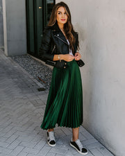 Wreath Satin Pleated Midi Skirt