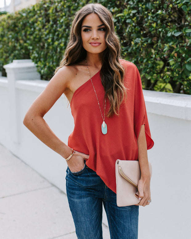 Shower With Love One Shoulder Blouse - Terracotta
