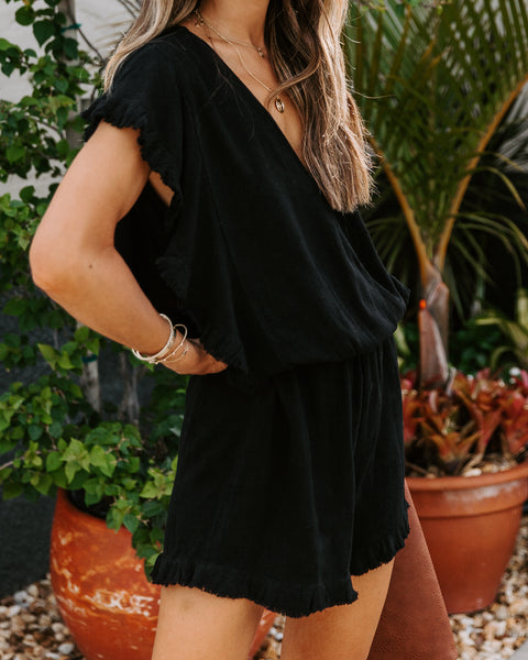 Tucson Cotton + Linen Frayed Romper - Black
