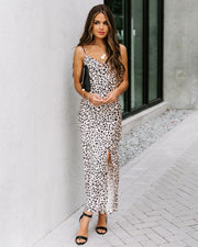 Kaleb Satin Leopard Midi Slip Dress