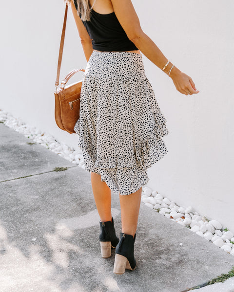 Lucy Printed High Low Ruffle Mini Skirt