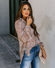 Catch Feelings Sheer Collared Leopard Blouse