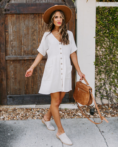 Ira Cotton Pocketed Button Down Babydoll Dress