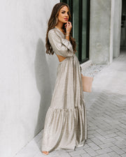 Shine Bright Metallic Cutout Maxi Dress