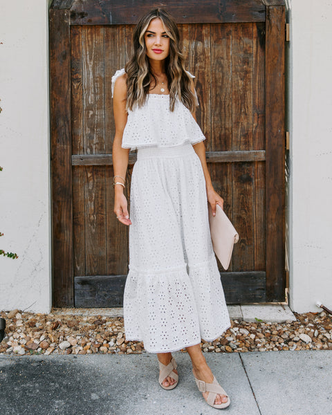 Ollie Cotton Eyelet Midi Dress - White