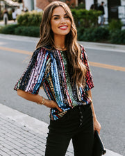 We Are Young Striped Sequin Top