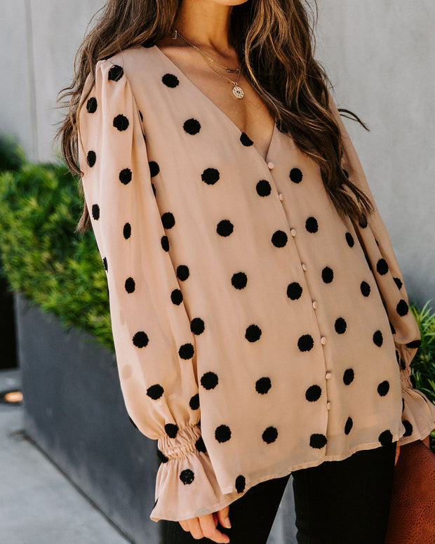 Tuck Button Down Pom Blouse