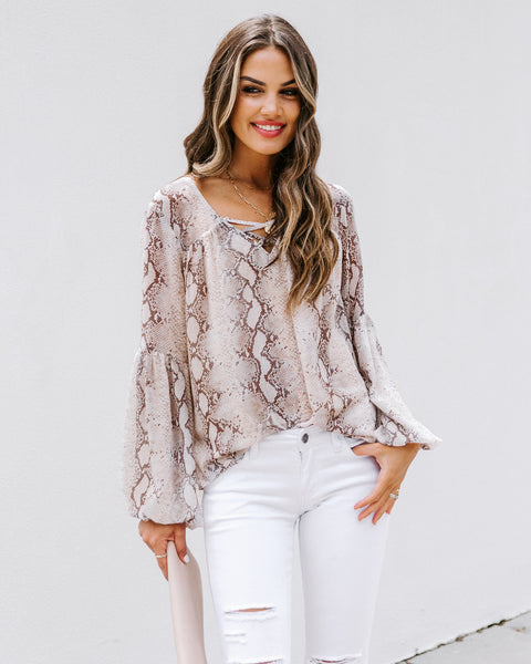 Bad Blood Printed Lace Up Blouse - FINAL SALE