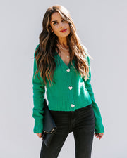 Lovey Button Front Knit Cardigan - Green view 3